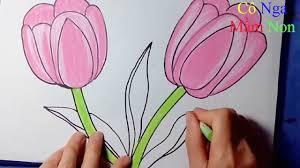 Cách vẽ hoa tuy lip - Vẽ và tô màu hoa Tulip - Drawing and ...