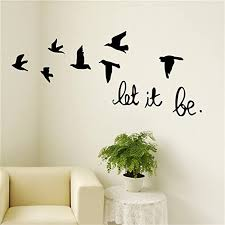 Amazon Com 25 Home Decor Birds Wall Decal Stickers Black Flying Birds Let It Be For Kids Rooms Living Room Home Kitchen