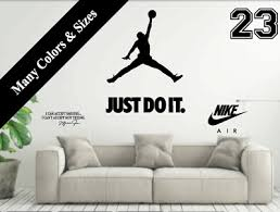 Nike Just Do It Michael Jordan Jumpman Wall Decal Mural Vinyl Decor Sticker Jump Ebay
