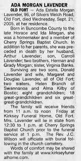 Ada Morgan Lavender Obit - Newspapers.com