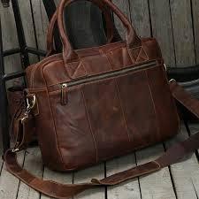 dark brown top grain leather briefcase