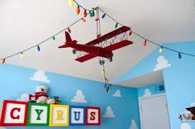 Kids Room Fabulous White Ceiling Ideas For Kidsroom Aero Plane Hanging Toy Multicolour Lighting Sky Cloud Wa Disney Kids Rooms Toy Story Room Toy Story Nursery