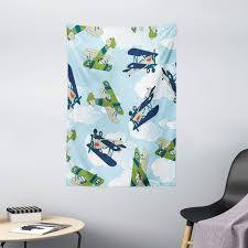 Amazon Com Ambesonne Airplane Tapestry Vintage Allied Plane Flying Pattern Cartoon Children Kids Shark Teeth Wall Hanging For Bedroom Living Room Dorm Decor 40 X 60 Blue White Olive Green Home Kitchen
