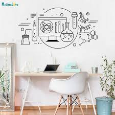 Experiment Equipment Wall Sticker Science And Technology Home Decor Kids Room School Laboratory Removable Vinyl Murals Yt829 Wall Stickers Aliexpress