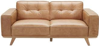 carson leather 2 seater sofa brown