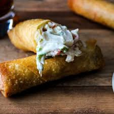 crab and cheese spring rolls pups