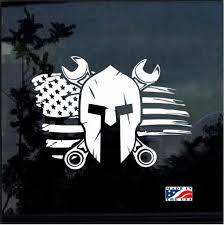 Mechanic Spartan Helmet Flag Decal Sticker Midwest Sticker Shop