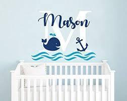 Amazon Com Boys Name Wall Decal Whale Wall Decal Nursery Baby Boy Room Decor Anchor Wall Decal Nautical Decor Wall Vinyl Sticker Decals F71 Handmade
