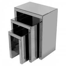 mirrored nest of tables titanium