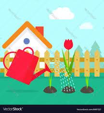 Garden cartoon village with Royalty Free Vector Image