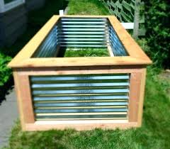 raised garden bed with corrugated metal