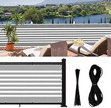 Jepeux Balcony Privacy Screen For Apartment Railing Low Garden Fence Deck Patio Etc New Stripes 3x16 4ft Privacy Fence With 30zip Ties 39 4ft Rope Amazon Sg Lawn Garden