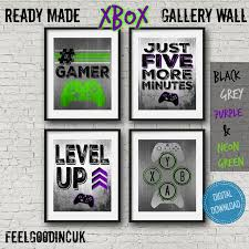 Xbox Game Room Wall Art Kids Room Purple Green Set Of Xbox Etsy