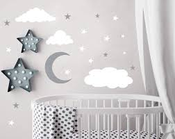 Amazon Com Clouds Wall Decals Moon And Stars Wall Decal Kids Wall Decals Wall Stickers Peel And Stick Removable Wall Stickers Baby Room Decoration Good Night Nursery Wall Decor