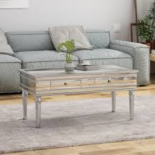 xanthe modern mirrored coffee table