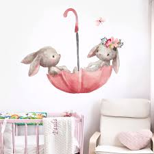 Cute Grey Bunny Rabbit Wall Stickers Room Cat Nursery Wall Decals Pink Flower For Girl Room Home Decoration Wall Clings For Kids Wall Clings Quotes From Trsunrise 8 3 Dhgate Com