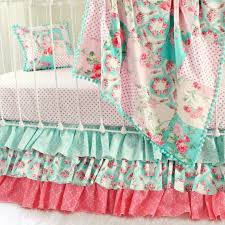 girls vintage roses crib bedding with