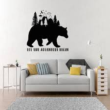 Vinyl Wall Decal Bear Inspiring Words Let The Adventure Begin Forest Stickers Mural Wl1965 Wall Stickers Aliexpress
