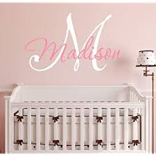 Amazon Com Nursery Custom Name And Initial Wall Decal Sticker 16 W By 12 H Girl Name Wall Decal Girls Name Wall Decor Personalized Girls Name Decor Nursery Bedroom Baby Decor Plus Free