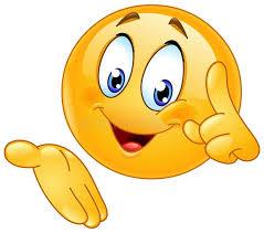 Foto circa Emoticon felice che indica dito su e presentazione ...
