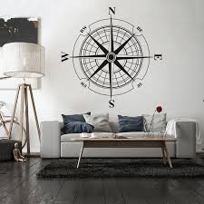 Vinyl Sticker Wind Rose Compass Wall Decal Removable Travel Geography Poster Home Decor Living Room Decoration Wall Mural W197 Wall Stickers Aliexpress