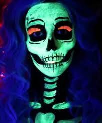 glow in the dark neon skeleton makeup