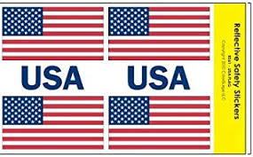 Amazon Com Colorsurge Llc Reflective American Flag Usa Decals For Helmets Bikes Wheelchairs Car Bumpers Windows Weatherproof Uv Resistant 1 X 2 Inches Flag X4 0 75 X