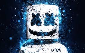 تحميل خلفيات Dj Marshmello 4k النيون الأزرق Dj كريستوفر