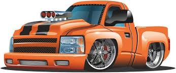 Amazon Com 12 1ft Cartoon Custom Lowrider Truck 4 Orange Kids Wall Decal Room Sticker Home Game Man Cave Den Art Decor Graphic Small Home Kitchen