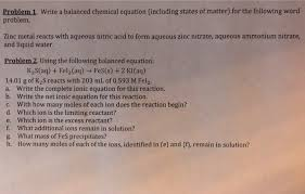 write a balanced chemical equation