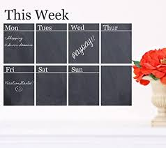 Amazon Com Chalkboard Weekly Calendar Vinyl Wall Decal 36 W By 23 H Calendar Wall Decals 2017 Calendars Weekly Schedule Wall Decals Weekly To Do List Calendars With Free 12 Personalized Name Decal
