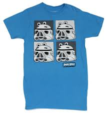 Angry Birds Star Wars Mens T-Shirt - Stormtrooper Pig 4 Box Images on Blue