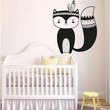 Amazon Com Dferh Art Wall Stickers Tribal Fox Nursery Wall Decals Woodland Fox Nursery Stickers Vinyl Wall Decals Children S Room And Nursery Bedroom Decoration L62 57x67cm Kitchen Dining