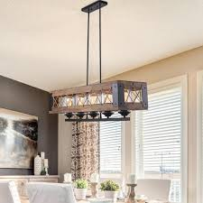 lnc 5 light black wood chandelier with