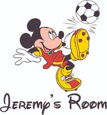 Mickey Mouse Playing Soccer Decal Childrens Wall Decal Custom Vinyl Wall Art Personalized Name Baby Girls Boys Kids Nursery Wall Decal Room Decals Wall Stickers Decorations Size 20x20
