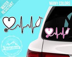 Waterproof Sticker Heartbeat Stethoscope Sticker Nurse Car Etsy
