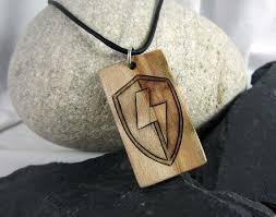 mens lightning bolt necklace wood