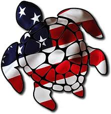 Amazon Com Itsaskin1 Sea Turtle American Flag America U S Turtle Sticker Decal For Car Made In The U S A Sports Outdoors