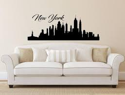 New York Skyline Wall Decal Vinyl Sticker City Silhouette Nyc Etsy