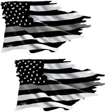 Thin Silver Line Tattered Flag Sticker Corrections Officer Vinyl Decal Car Truck