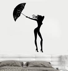 Wall Vinyl Decal Sexy Girl With Umbrella Romantic Rain Decor Unique Gi Wallstickers4you