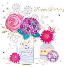 vase flowers happy birthday greeting