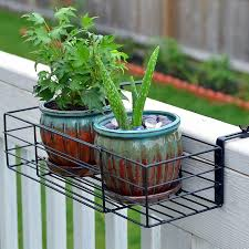 Amazon Com Adjustable Flower Pot Rack Holder Plant Stand Expands 14 27 To Accomodate Multiple Flowerpots Hanger Hooks Fit Almost Any Balcony Fence Or Deck Railing Up To 6 Wide Steel