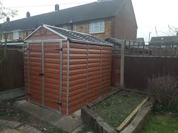 Palram 6 X 8 Ft Amber Double Door Plastic Apex Shed With Skylight Roof Shed Apex Shed Skylight