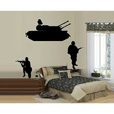 Decal Army Tank And Two Soldiers Wall Decal Large Tank 17 X 34 Soldiers 20 X 15 Walmart Com Walmart Com