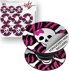 Amazon Com Decal Style Vinyl Skin Wrap 3 Pack For Popsockets Pink Zebra Skull Popsocket Not Included By Wraptorskinz Everything Else