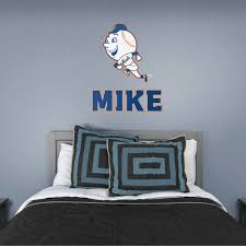 New York Mets Mr Met Stacked Personalized Name Giant Mlb Transfer Decal New York Mets Fathead Decals Mlb Giants