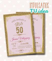 Tarjeta Cumple 50 Invitacion Cumple 50 Para Imprimir