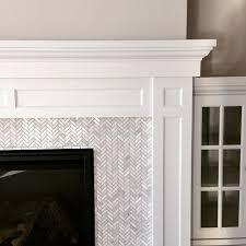 herringbone marble tile with shaker