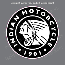 Indian Motorcycle Facing Left 1901 Vintage Bumper Sticker Window Decal